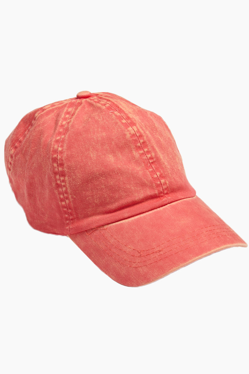Washed Out Retro Baseball Cap - Coral