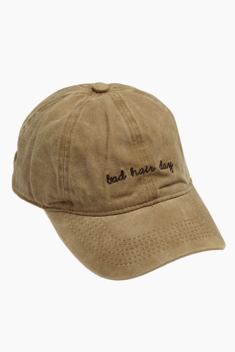 Bad Hair Day Slogan Baseball Cap - Khaki