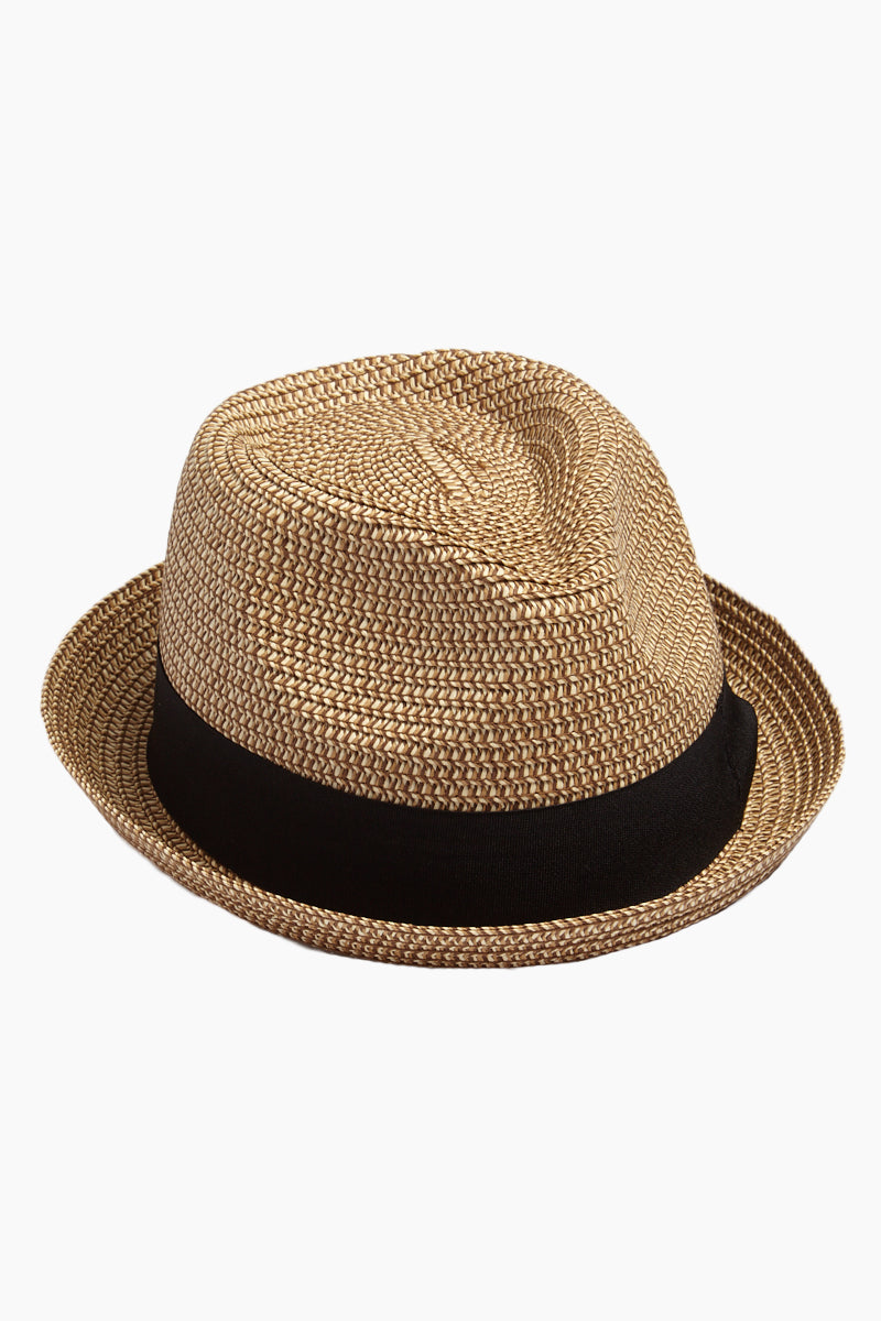 Straw Pork Pie Hat - Natural