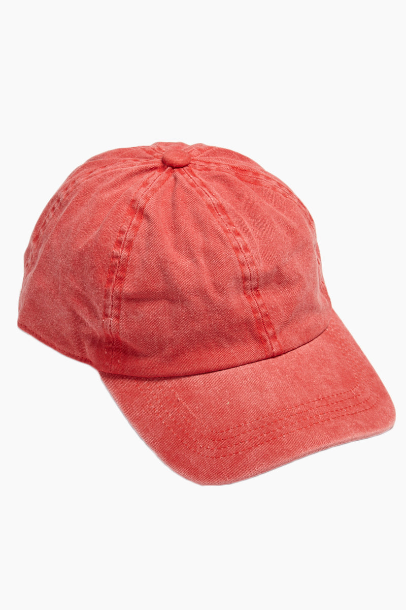 Washed Out Retro Baseball Cap - Red