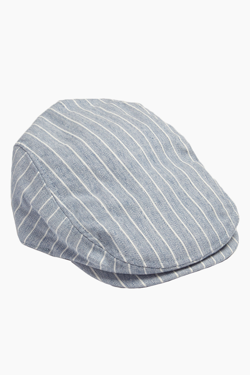 Herringbone Stripe Newsboy Cap - Blue