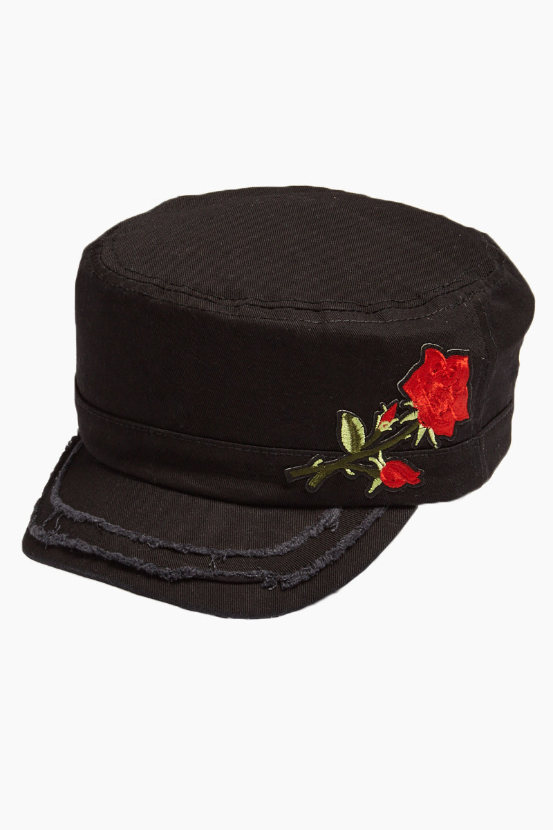 Embroidered Floral Distressed Cadet Cap - Black
