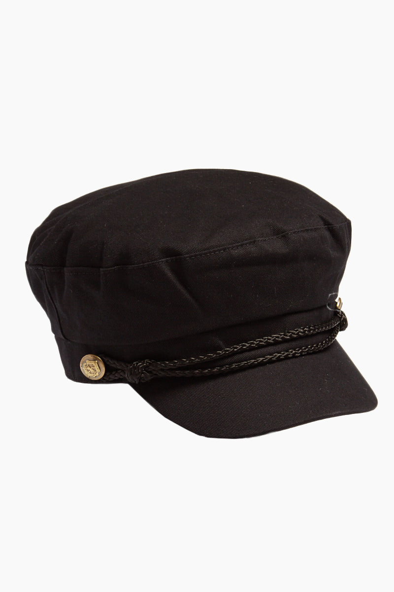 Fisherman Cabbie Cap With Cord - Black