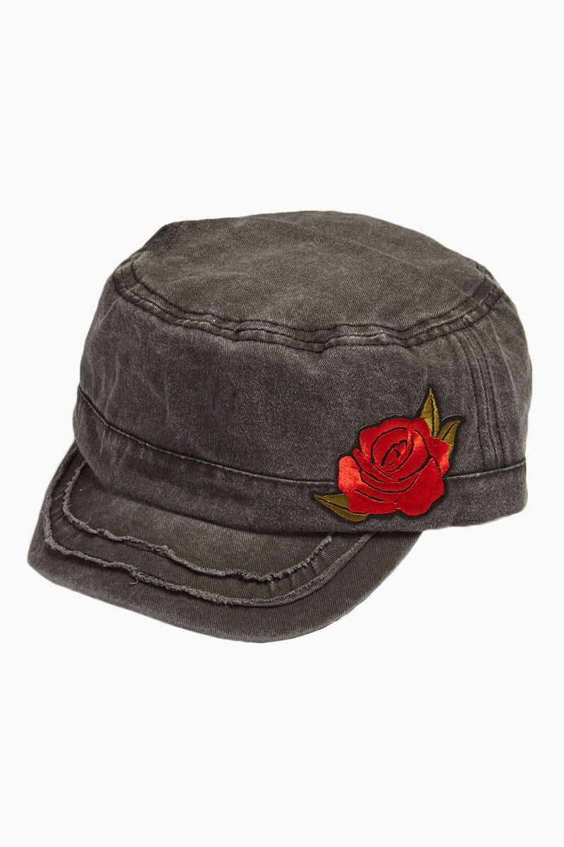 Embroidered Floral Distressed Cadet Cap - Grey