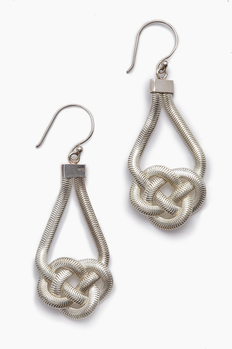 Sabha Knotted Fishtail Chain Dangle Earrings - Silver