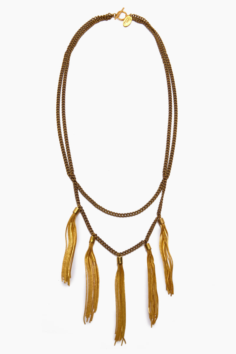 Gigi Multi-Layered Tassel Necklace - Gold