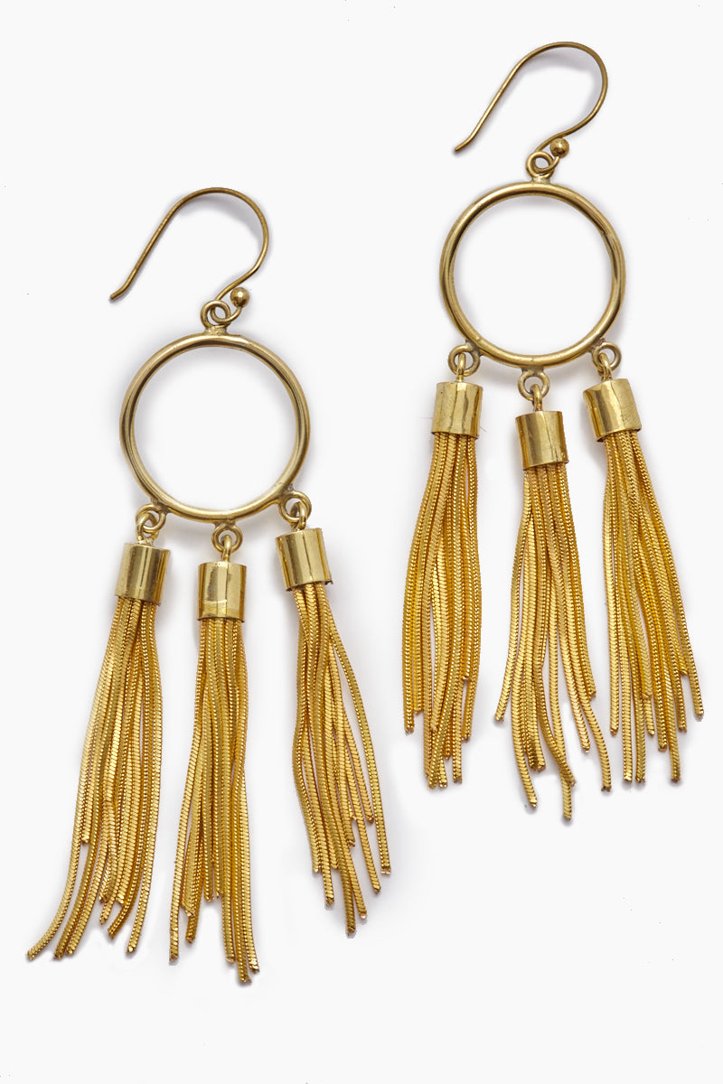 Gigi Chain Tassel Dangle Earrings - Gold