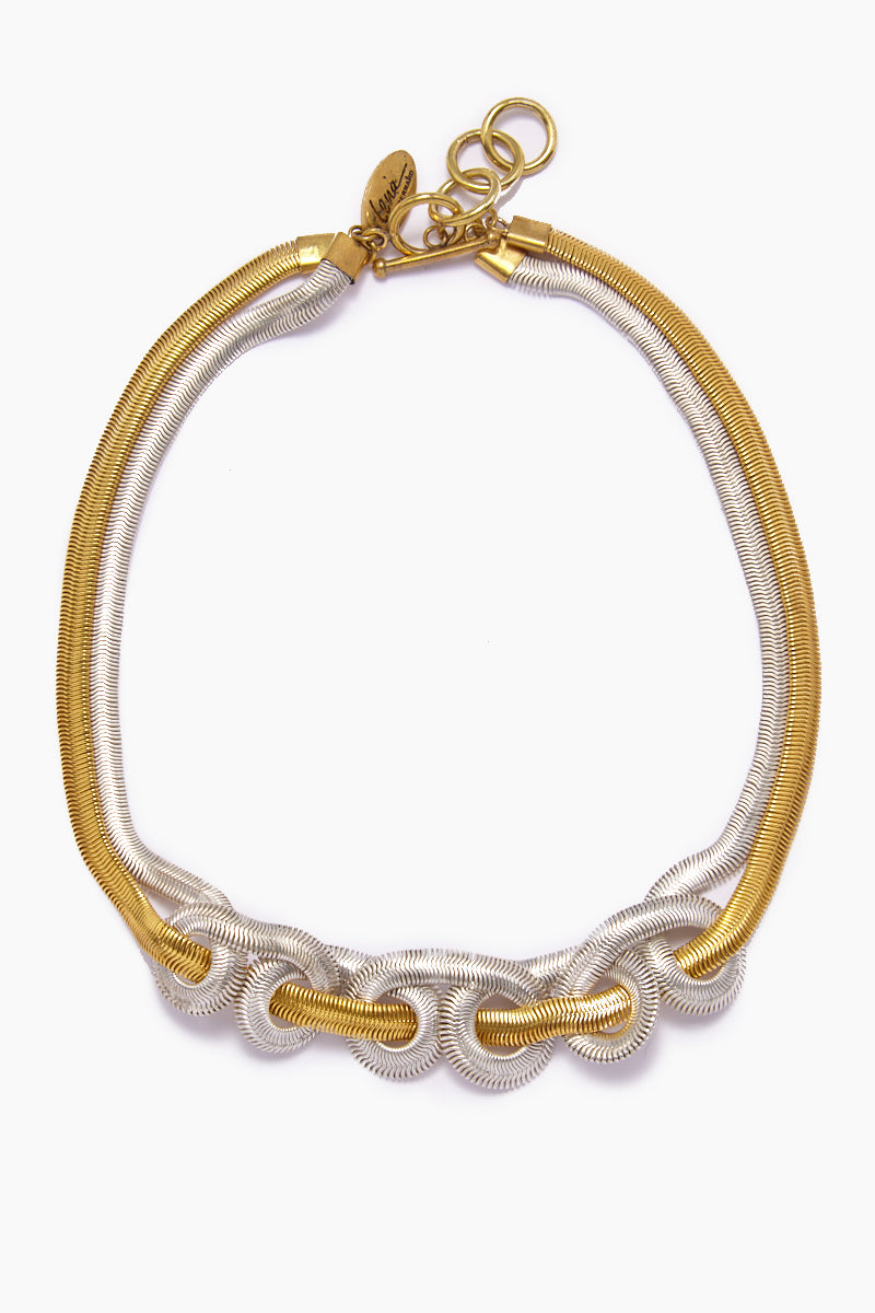 Sekai Knotted Fishtail Collar Necklace - Gold & Silver