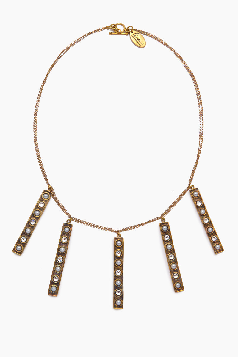 Stella Pearl & Crystal Stick Charms Gold Necklace