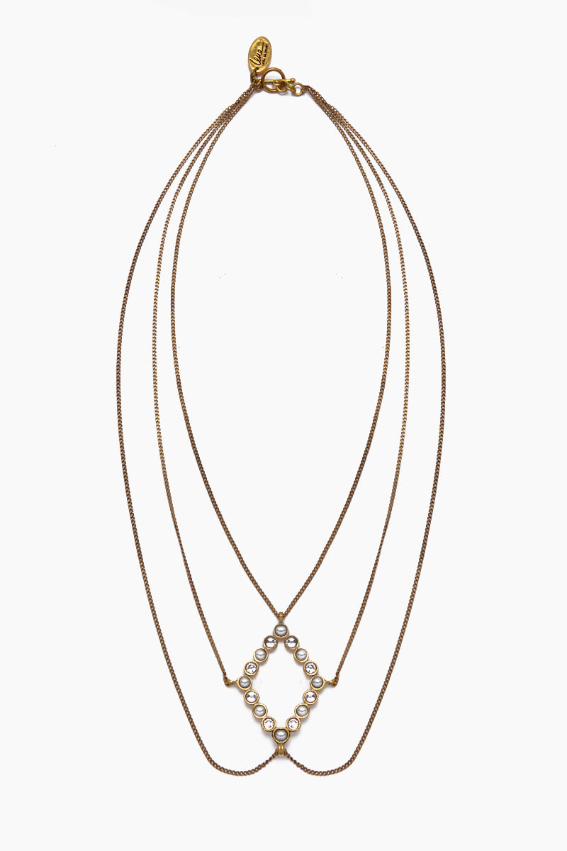 Amelia Pearl & Crystal Layered Necklace - Gold
