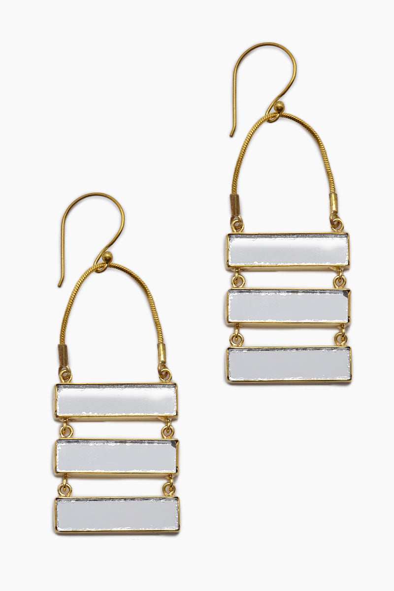 Damianis Mirrored Brass Dangle Earrings - Gold