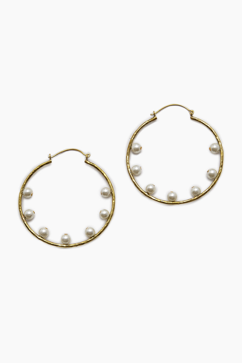 7 Pearl Hoop Earrings - Gold
