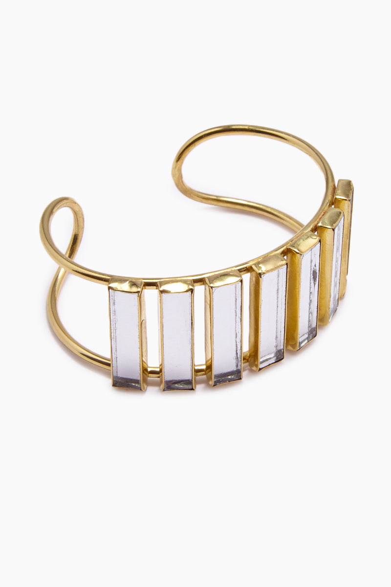 Damaris Mirrored Brass Cuff Bracelet - Gold