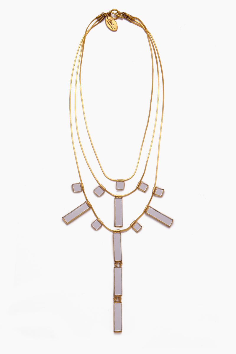 Delilah Mirrored Charm Brass 3 Tier Necklace - Gold
