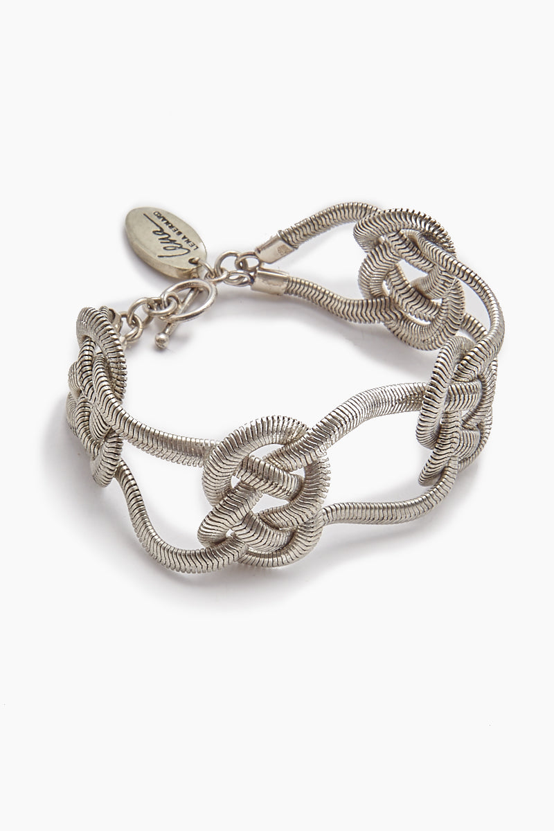 Sabha Knotted Silver Fishtail Chain Bangle Bracelet