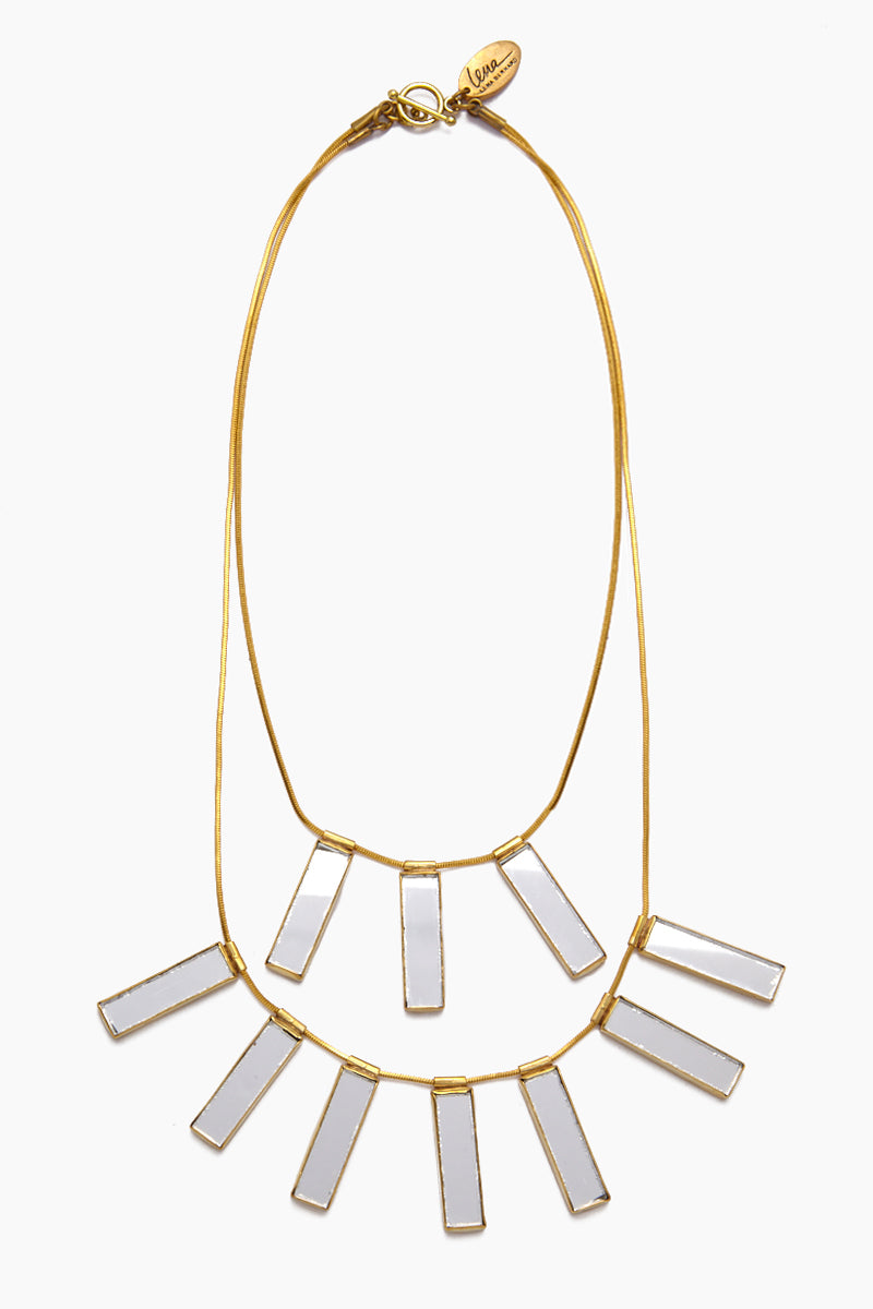 Davina Mirrored Charm Gold Brass Layered Necklace