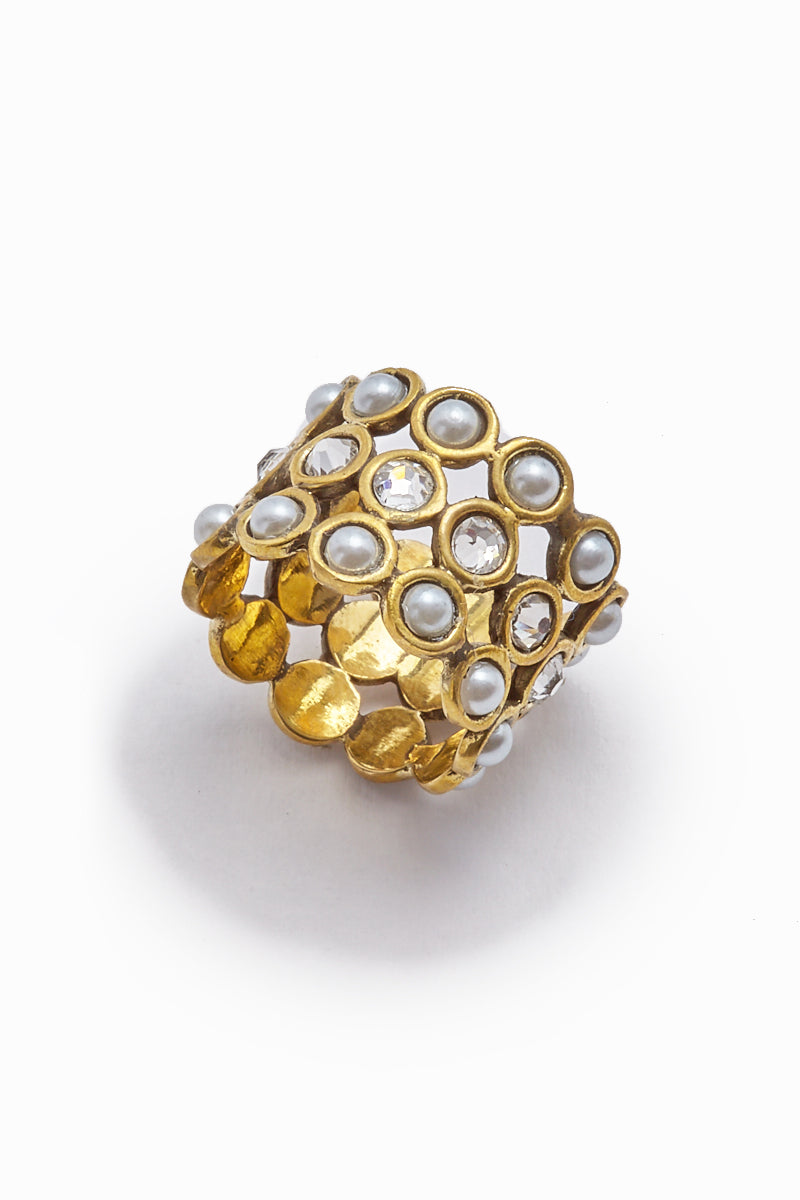 Jillian Pearl & Crystal Gold Cuff Ring