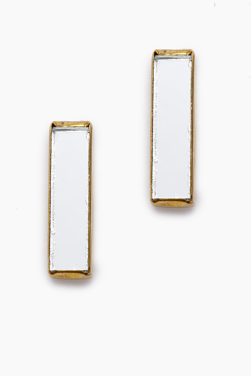Dia Mirrored Gold Stick Stud Earrings