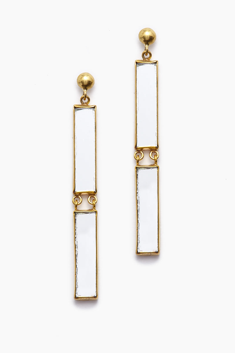 6af31c531532a Ditani Mirrored Gold Double Stick Drop Earrings