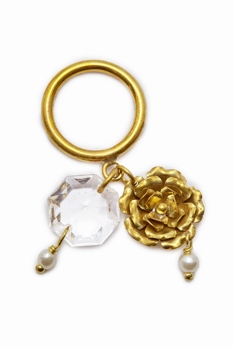 Crysta Dangling Charms Gold Ring