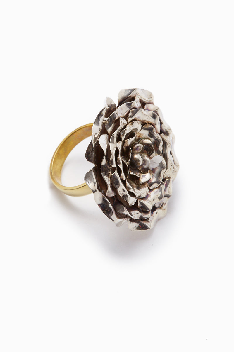 Large Rose Statement Ring - Silver/Gold