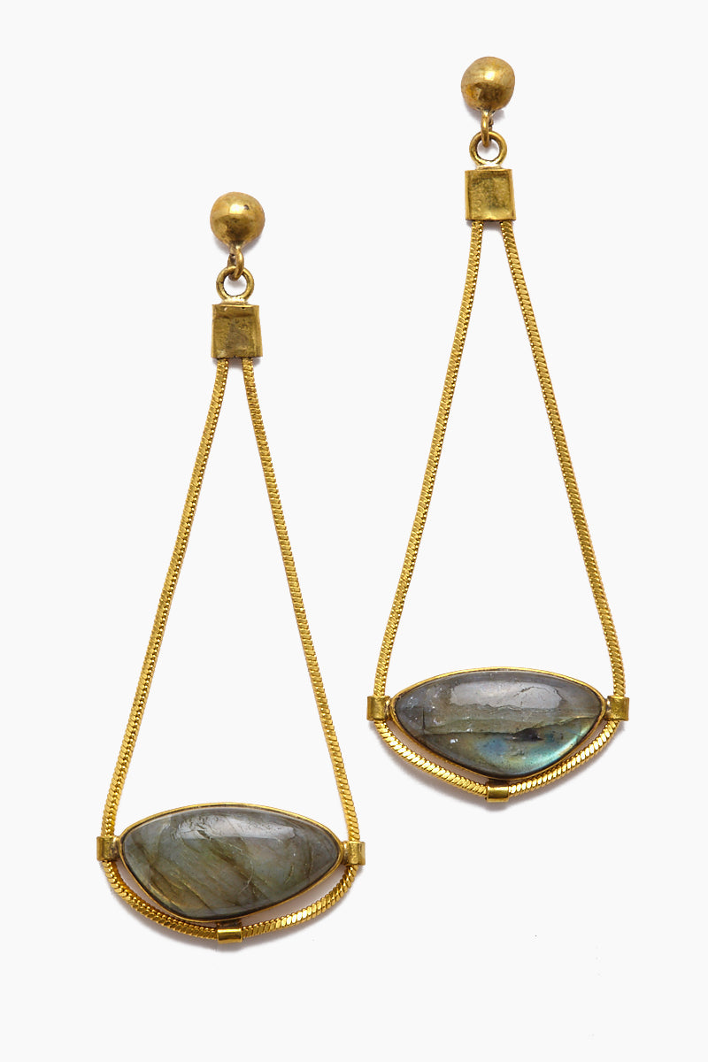 Najila Labradorite Pendant Gold Drop Earrings