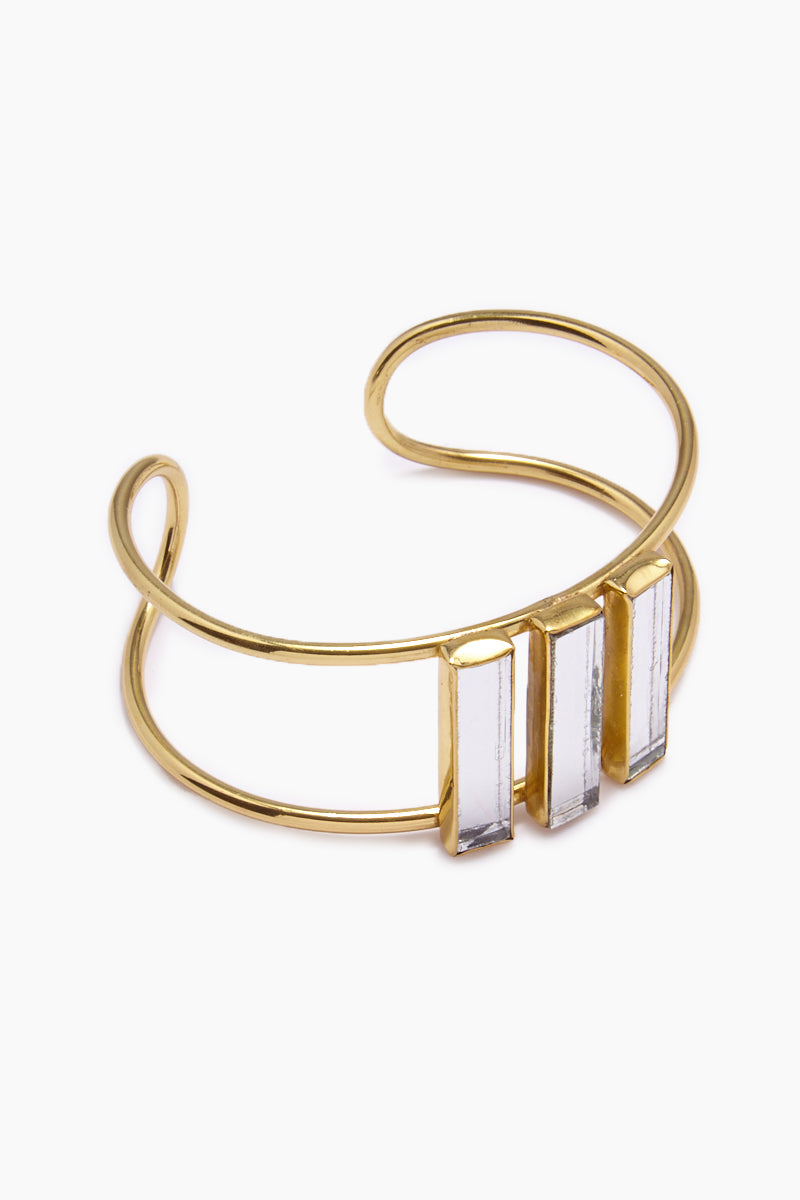 Damianis Mirrored Brass Cuff Bracelet - Gold