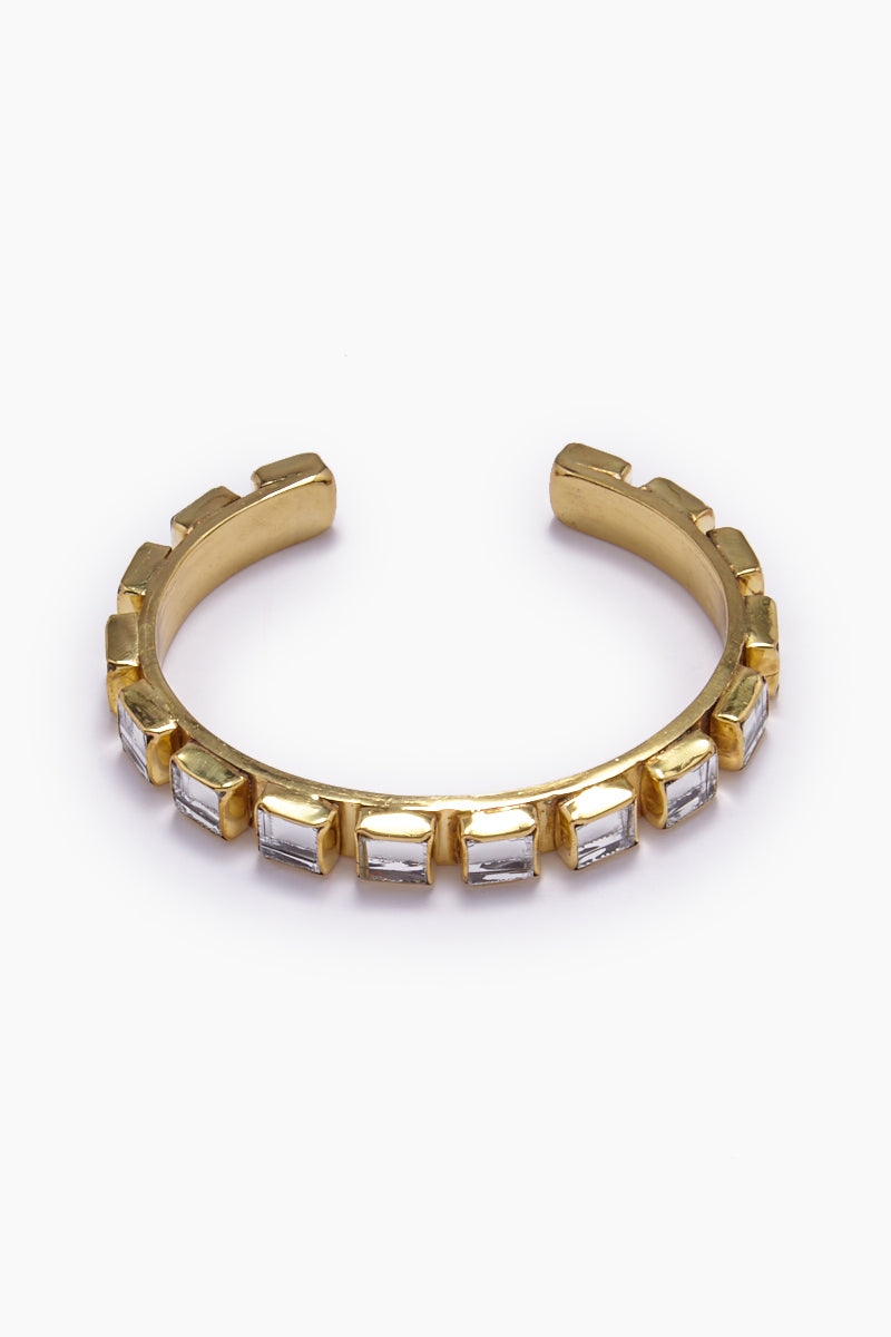 Destina Disco Mirrored Brass Cuff Bracelet - Gold