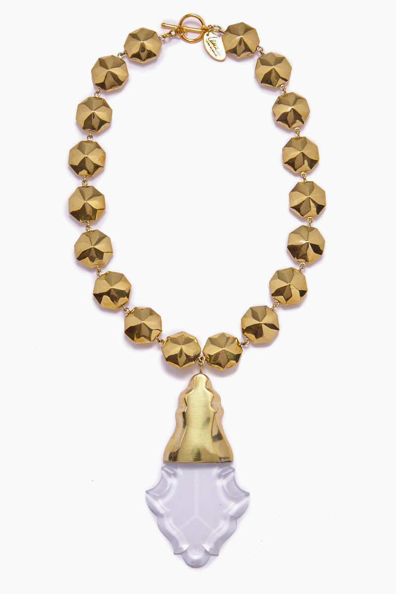 Orina Bauble Crystal Pendant Necklace - Gold