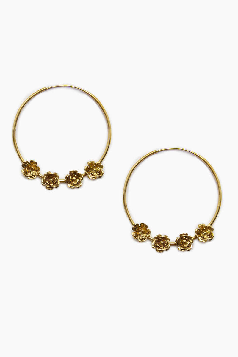 4 Roses Hoop Earrings - Gold