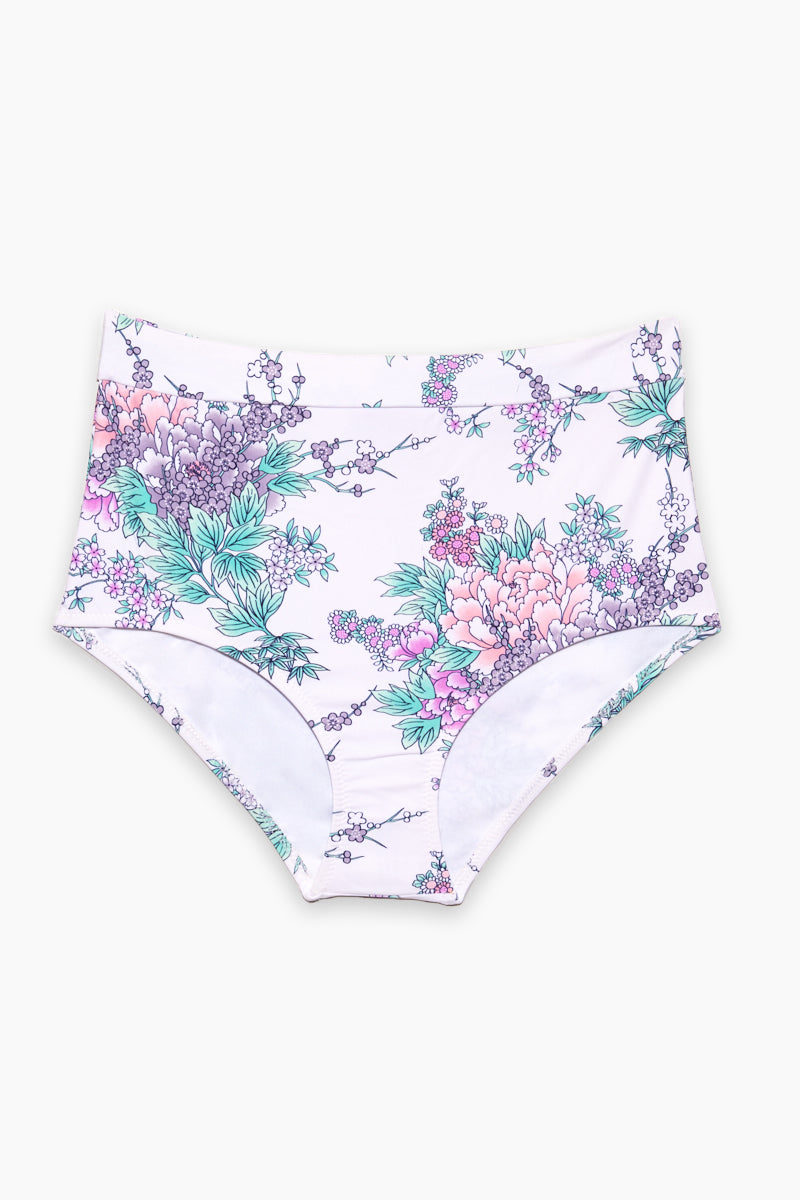 Island High Waisted Bikini Bottom (Curves) - White Water