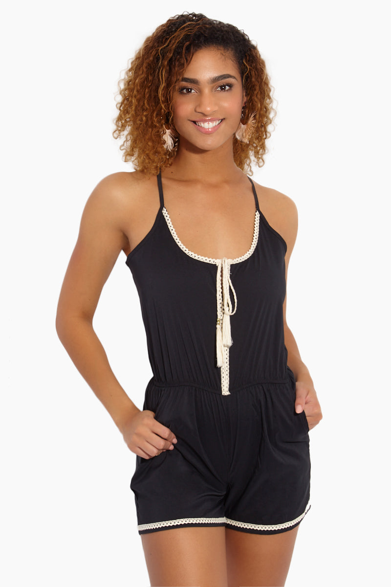 Crochet Trim Romper - Black