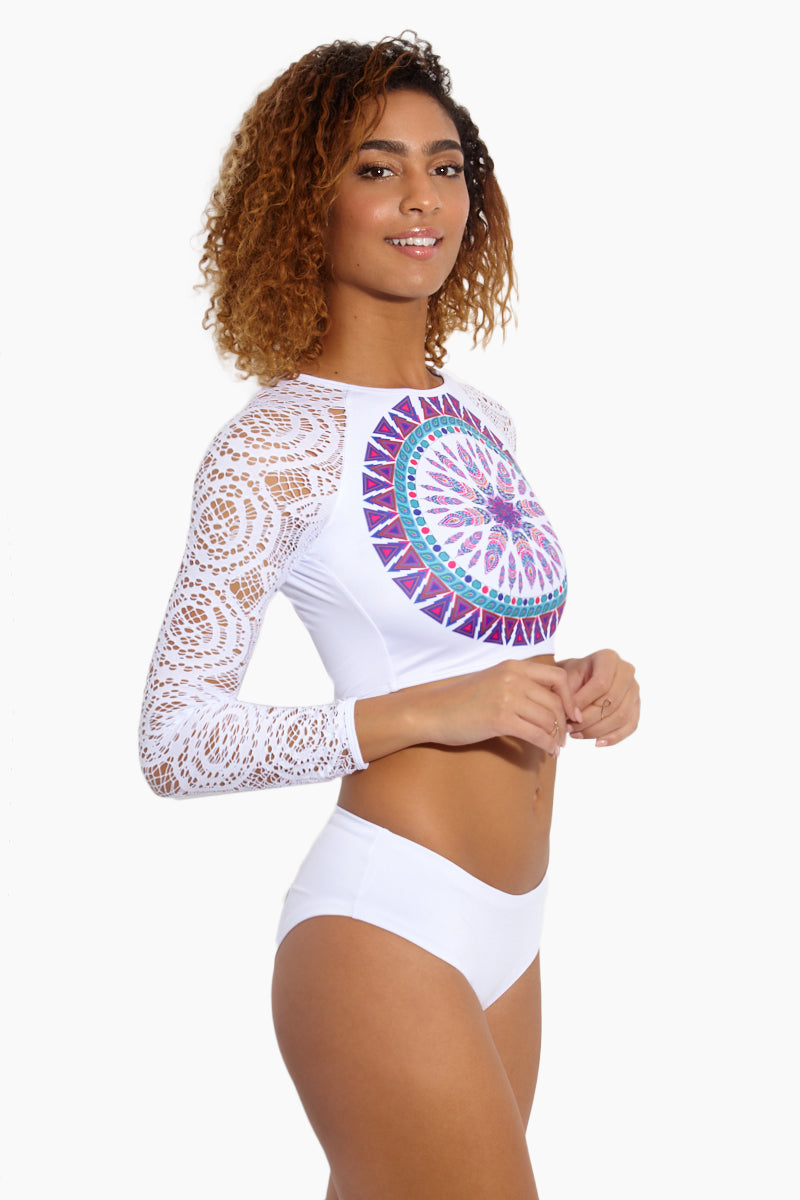 Mandala Long Sleeve Bikini Top - White