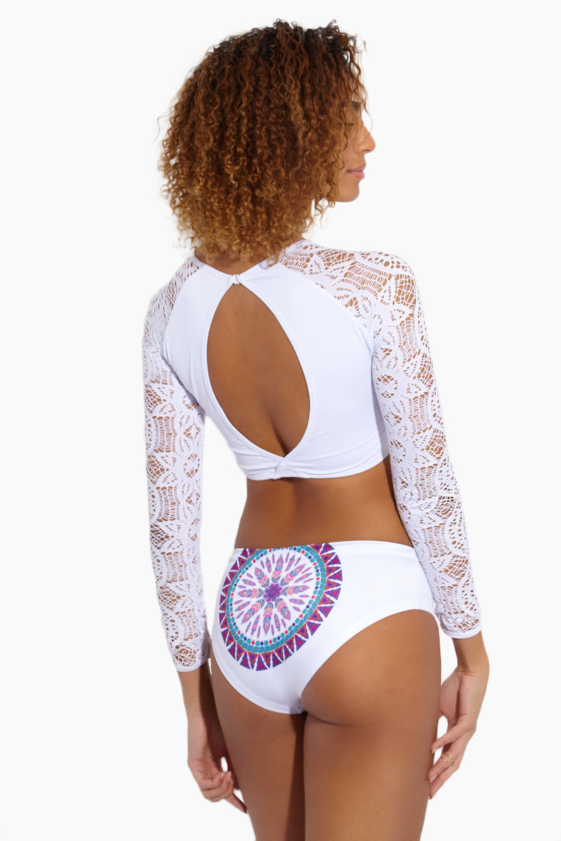 Mandala Moderate Bikini Bottom - White Geometric Print