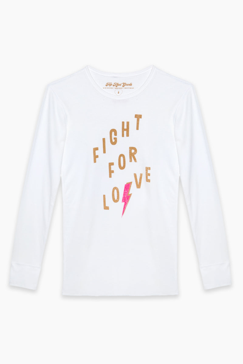 Fight For Love Long Sleeve Tee - White