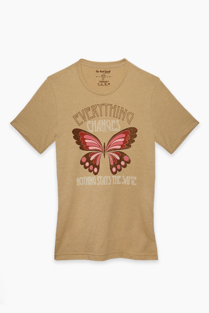 Everything Changes Tee - Brown Butterfly Print