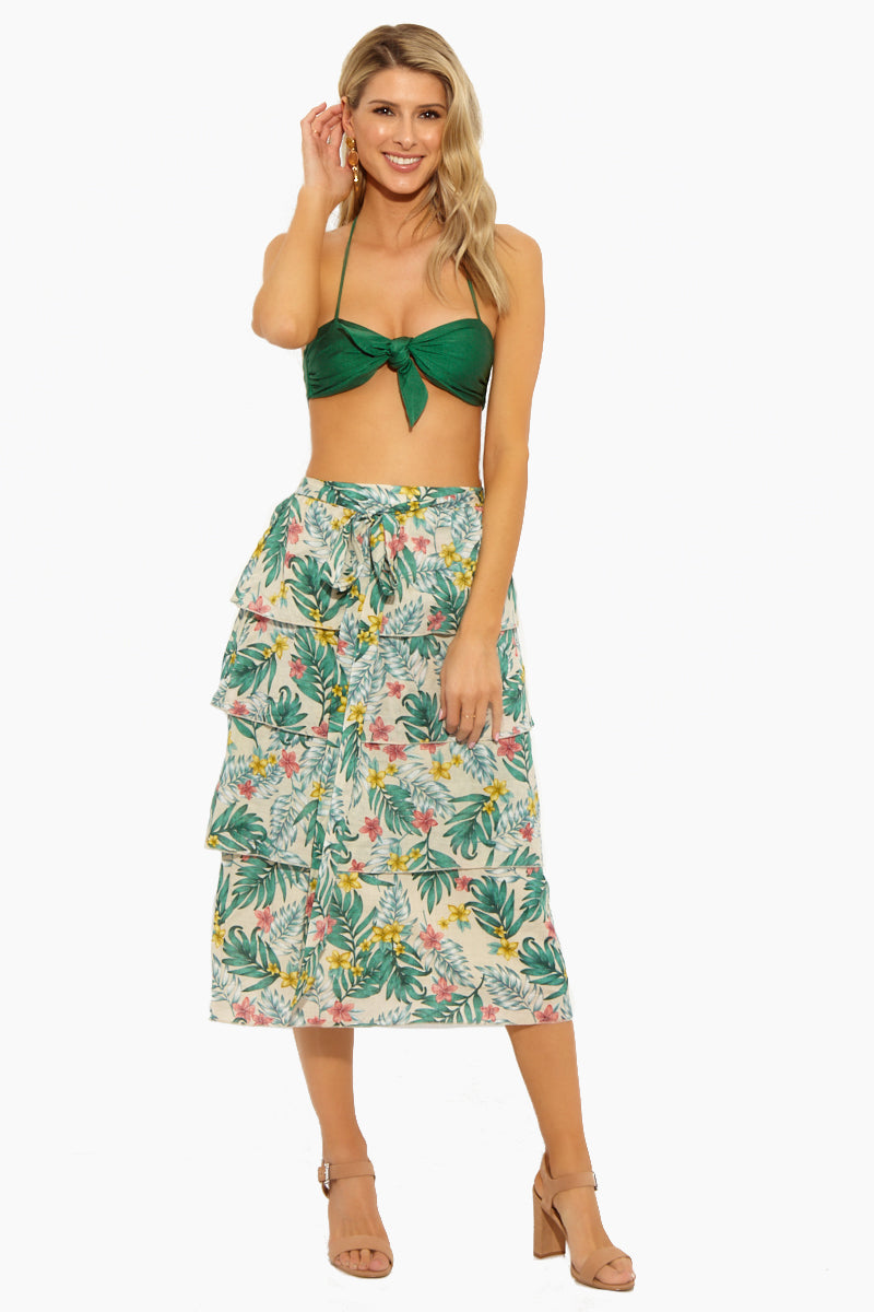 Londyn Multi-Tiered Self Tie Midi Skirt - Sandy Luau Tropical Print