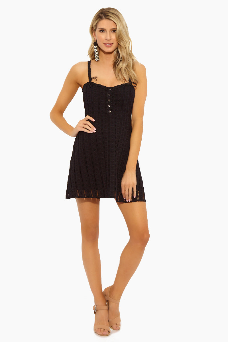 Spring Eyelet Mini Dress - Black