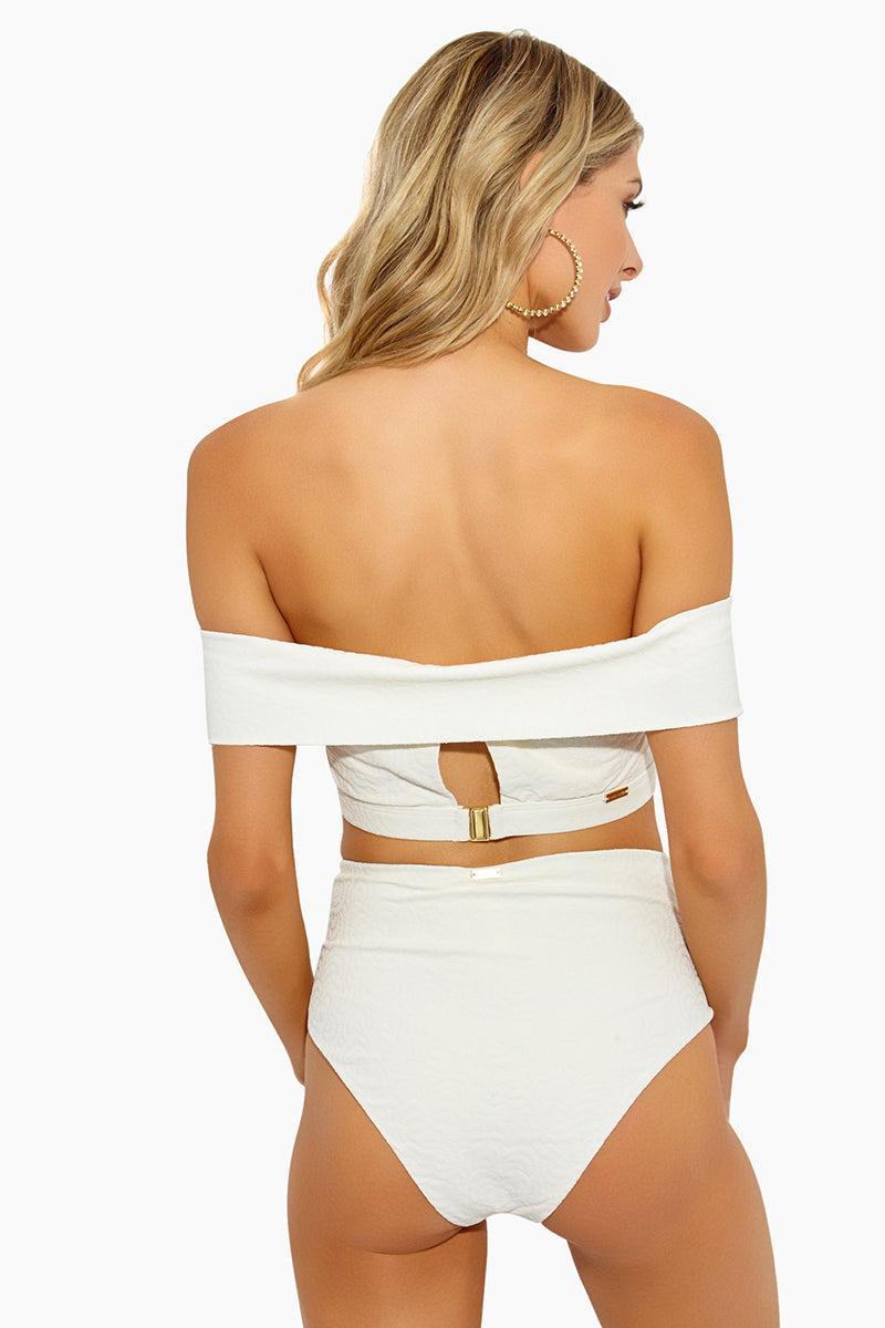 Jolie High Waisted Bikini Bottom - Ivory