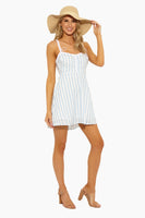 Sophisticated A-line Scoop Neck Short Fitted Button Front Hidden Back Zipper Swing-Skirt Striped Print Dress With a Bow(s)