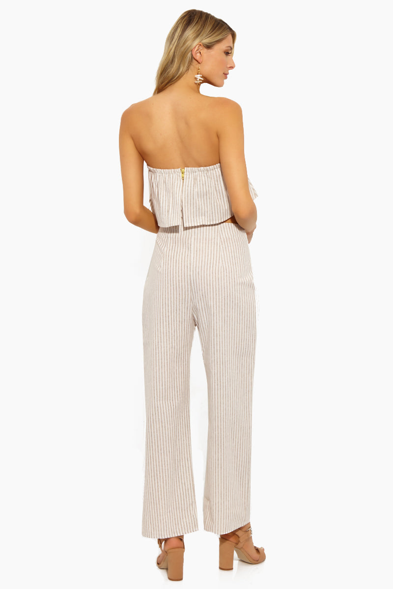 Parker High Waist Straight Leg Pants - Ash Brown & White Stripe Print