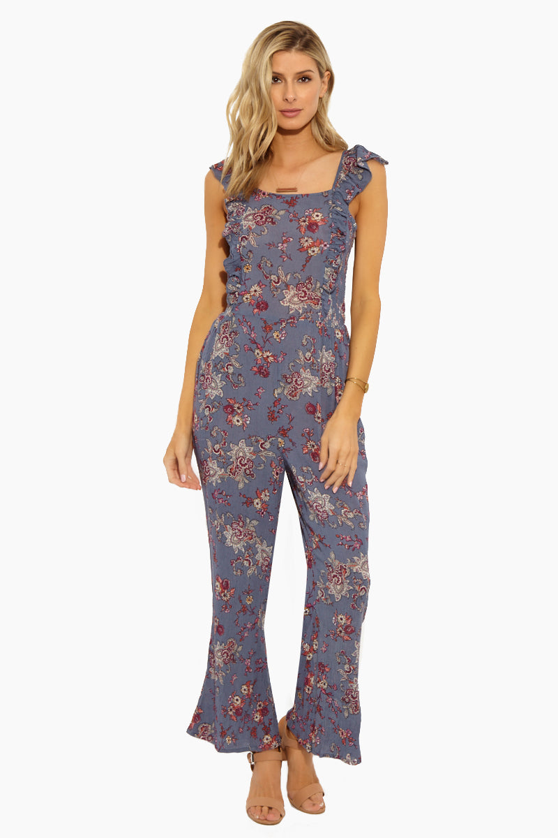 Ruffle Smocked Jumpsuit - Dusty Blue Floral Print