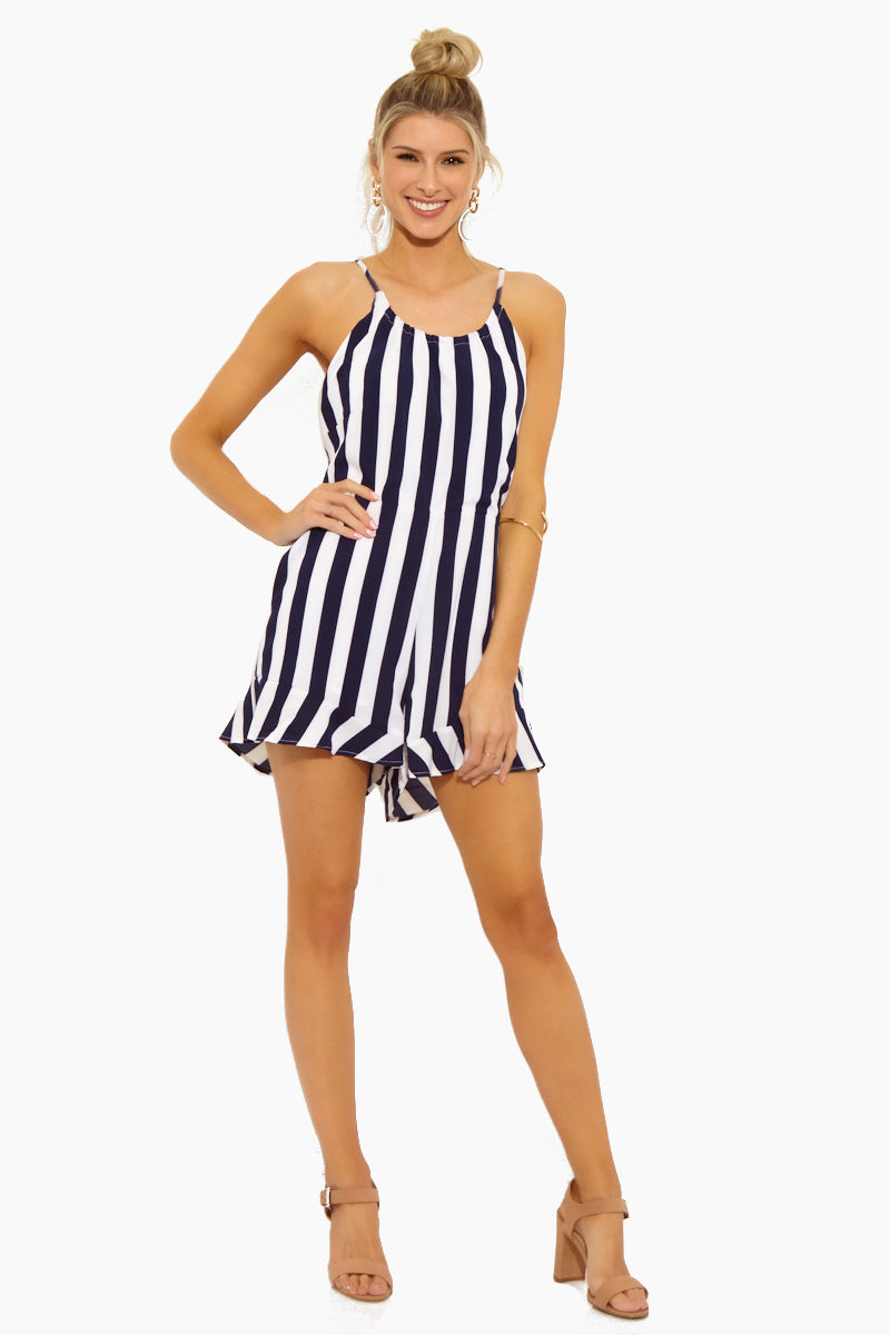 Selena Tunnel Strap Halter Neck Romper - Navy Blue & White Stripe Print
