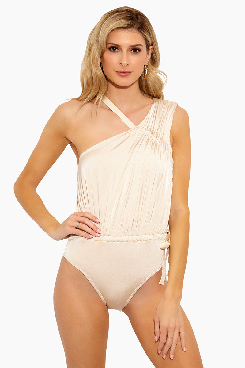 Asymmetric Ruched Tie One Piece Swimsuit - Champagne