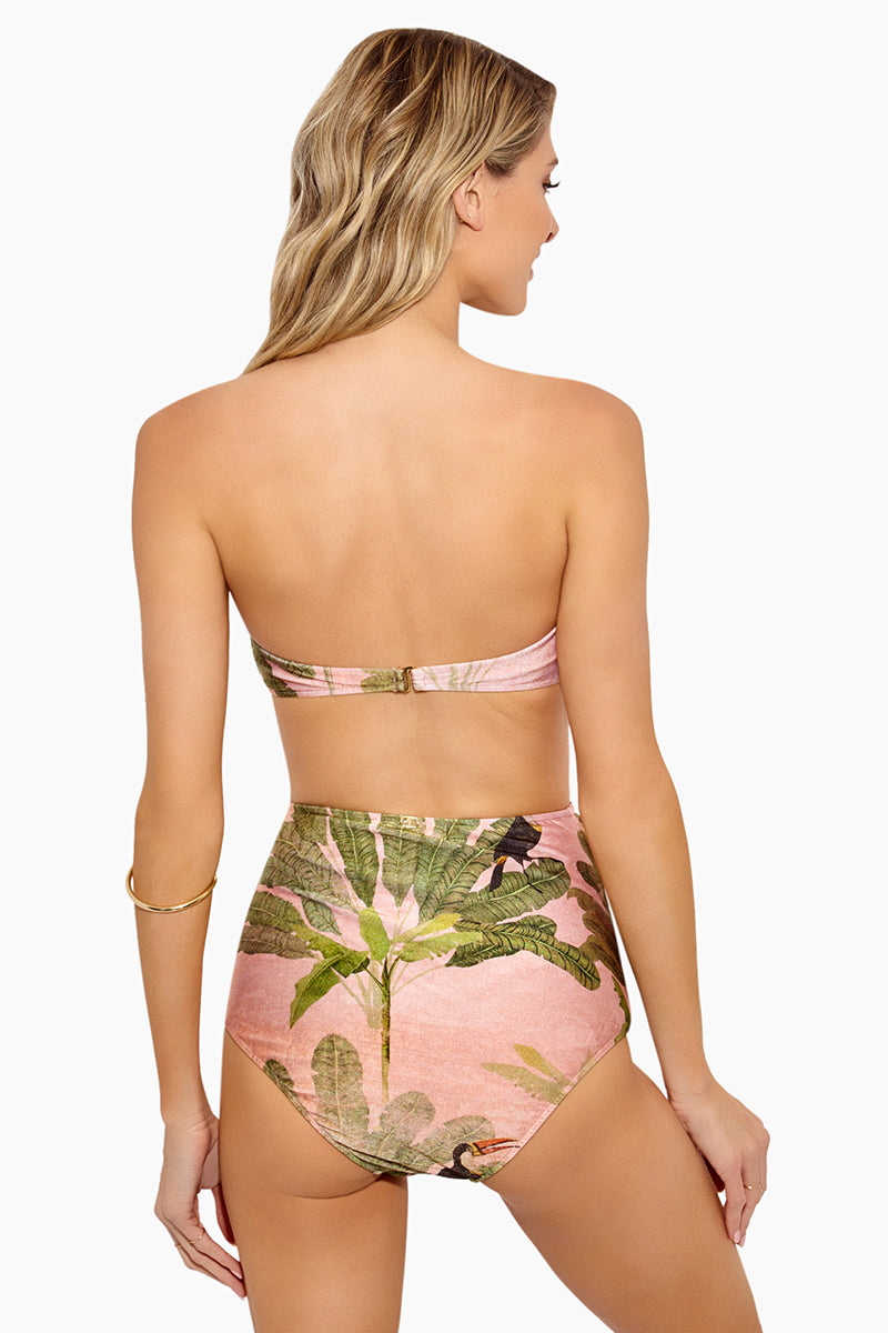 Toucan High Waisted Scrunch Bikini Bottom - Rose Salmon