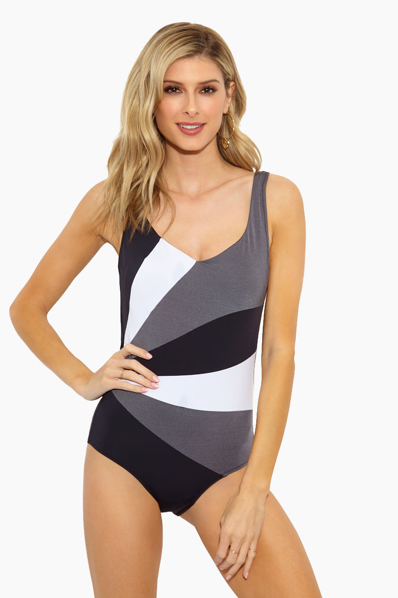 9f38e23dfdb9e Stripes One Piece Swimsuit - Black White