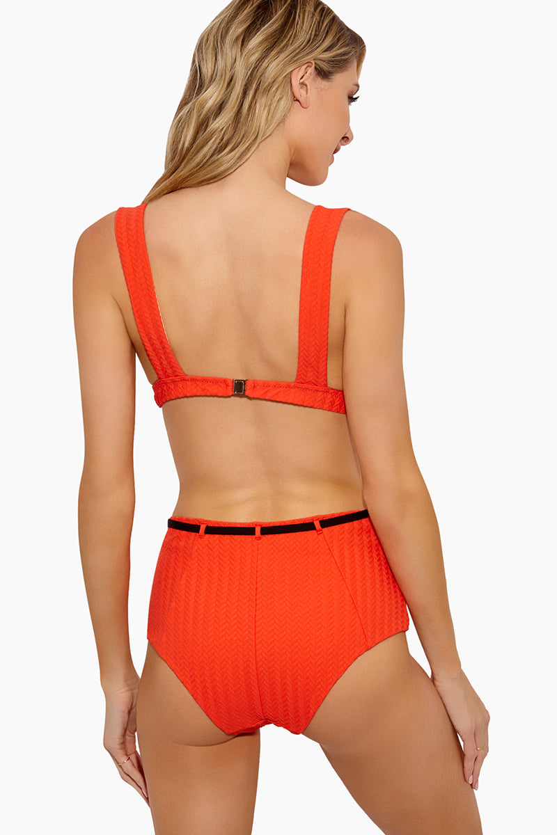 18 05 30 On Model Brittany 0823 8e2ef12a c573 4d79 82d5 0ef511716aad Emma Textured High Waist Belted Bikini Bottom 8211 Orange