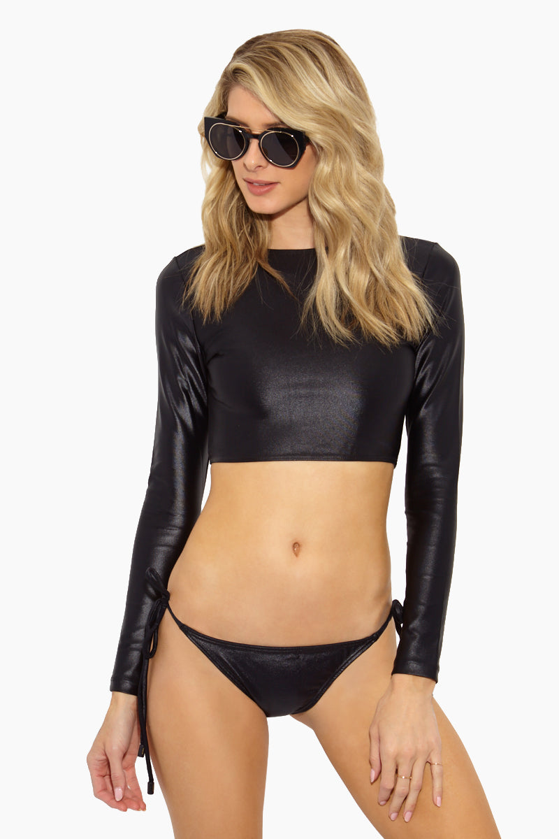 Surf Latex Long Sleeve Crop Bikini Top - Black