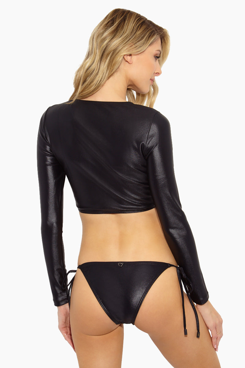 Basic Latex Side Tie Bikini Bottom - Black