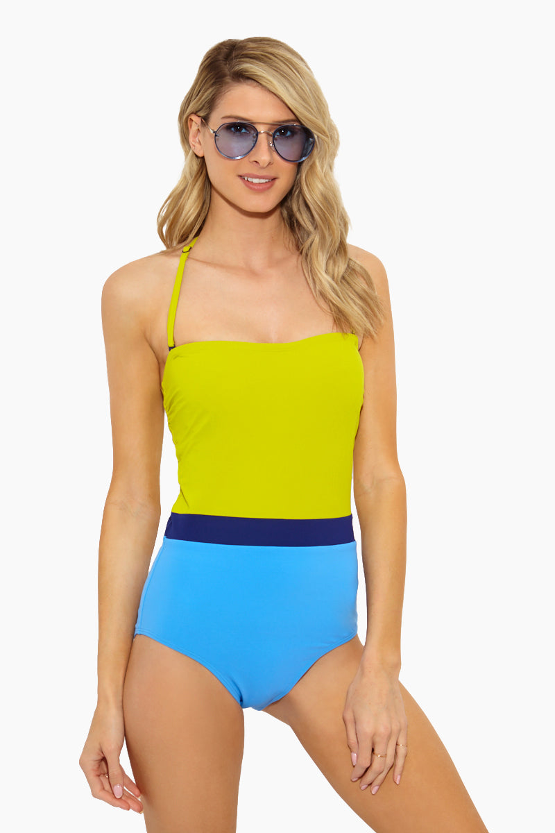 The Rita Color Block One Piece - Key Lime/Navy/Shore Blue